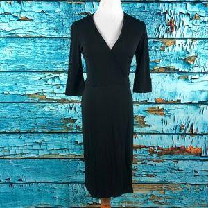Diane Von Furstenberg V Neck 3/4 Sleeve Wrap Dress